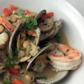 shrimp clam sausage stew
