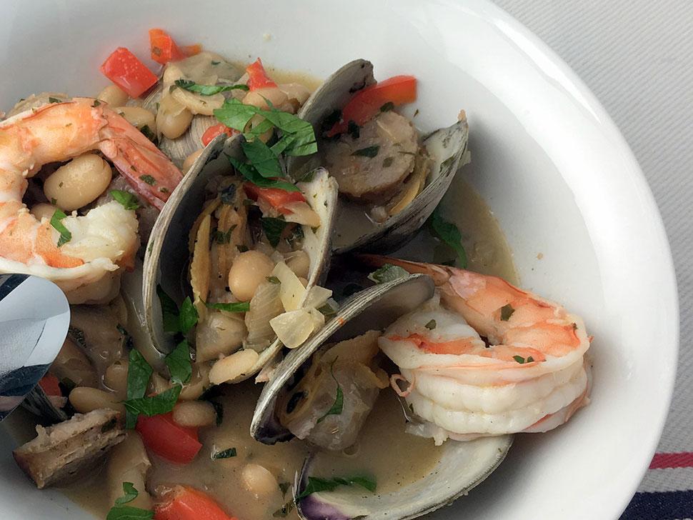 shrimp clam sausage stew