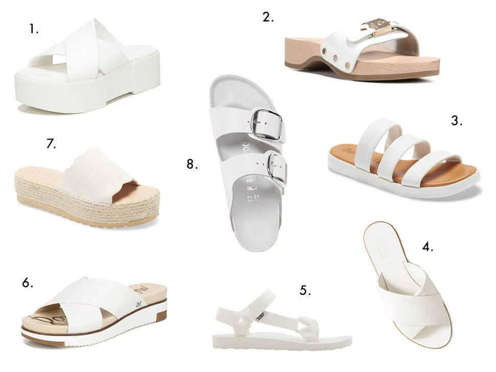 Round-Up of The Best White Sandals 2020