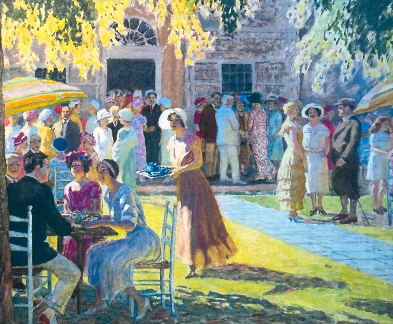 """Edward Volkert (1871-1935), """"Tea Day, 1931,"""" oil, courtesy of the family of Edward Volkert"""